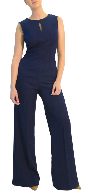 Model wearing women's full navy jumpsuit