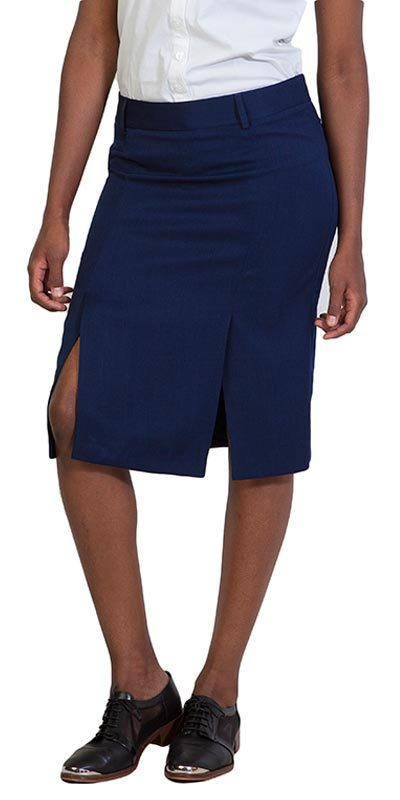 pleat pencil skirt navy front