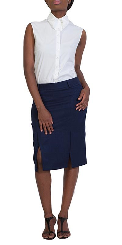 pleat pencil skirt navy