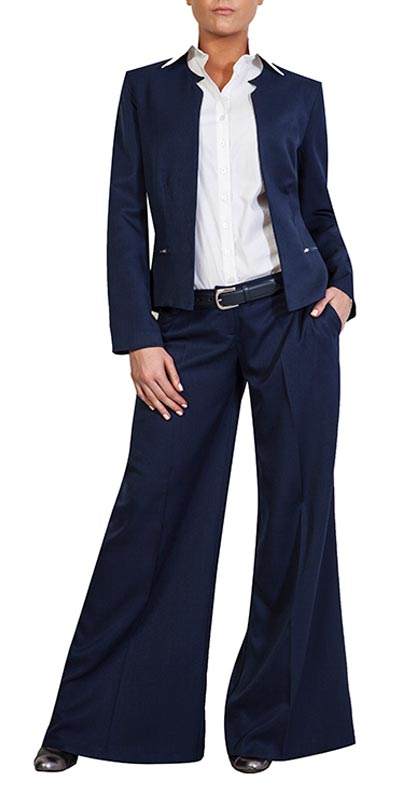 full navy suit flared pants