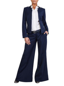 Woman wearing nacy pants and blazer